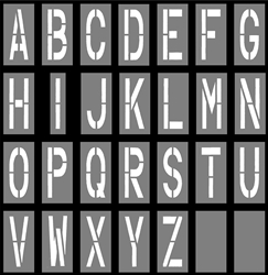 "24 INCH x 9 INCH ALPHABET KIT - 28 PIECES - 1/16"" THICK PLASTIC"