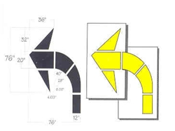 "CURVED ARROW KIT - HIGHWAY INTERSECTION-8' 4"" OAL, 2 PIECES - 1/8"" THICK PLASTIC"