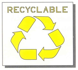 "RECYCLABLE LOGO - 16"" W LOGO - 20"" x 20"" PLASTIC - 1/16"" THICK PLASTIC"