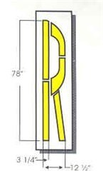 "RAILROAD ""R"" - 6'6""Tx12.5""W - 1/16"" THICK PLASTIC"
