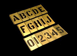 3 INCH BRASS STENCIL KIT - 92 PIECES - ALPHANUMERIC