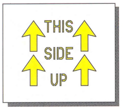 "THIS SIDE UP - 8"" x 8"" - 1/16"" THICK PLASTIC"