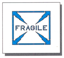 "FRAGILE - 8"" x 8"" - 1/16"" THICK PLASTIC"