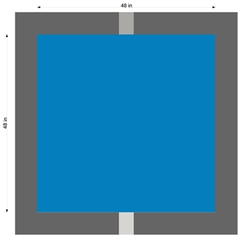 "48"" BLUE SQUARE STENCIL FOR OUR 39"" HANDICAP STENCIL ABOVE - 2 PCS , 1/8"" PLASTIC"