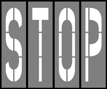 72 INCH WORDING - STOP - 1/8 INCH PLASTIC - 4 PIECES