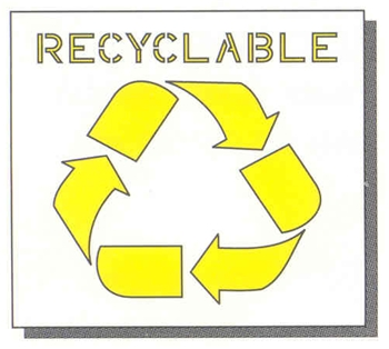"RECYCLABLE LOGO - 16"" W LOGO - 20"" x 20"" PLASTIC - 1/8"" THICK PLASTIC"