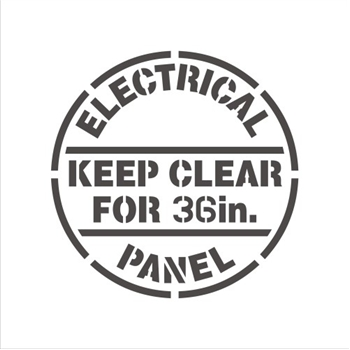 "ELECTRICAL PANEL - KEEP CLEAR FOR 36"" & 42"""