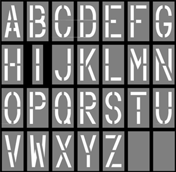 18x9_ALPHABET  Inch Alphabet Letter Templates on for tracing, free printable large, for kids, medium printable,