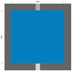"48"" BLUE SQUARE STENCIL FOR OUR 39"" HANDICAP STENCILS ABOVE - 2 PCS , 1/16"" PLASTIC"