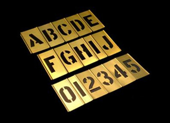 2 inch brass stencil kit 92 pieces alphanumeric del for Metal stencil set letters