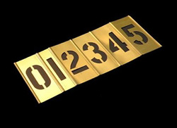 4 INCH BRASS STENCIL KIT - 15 PIECES - NUMBERS