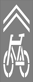 "BIKE LANE SYMBOL/CHEVRONS 107""Hx39""W 1/8"" PLASTIC"