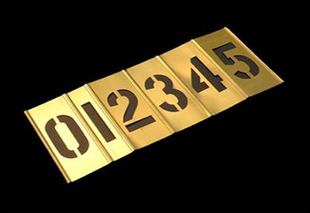 5 INCH BRASS STENCIL KIT - 15 PIECES - NUMBERS